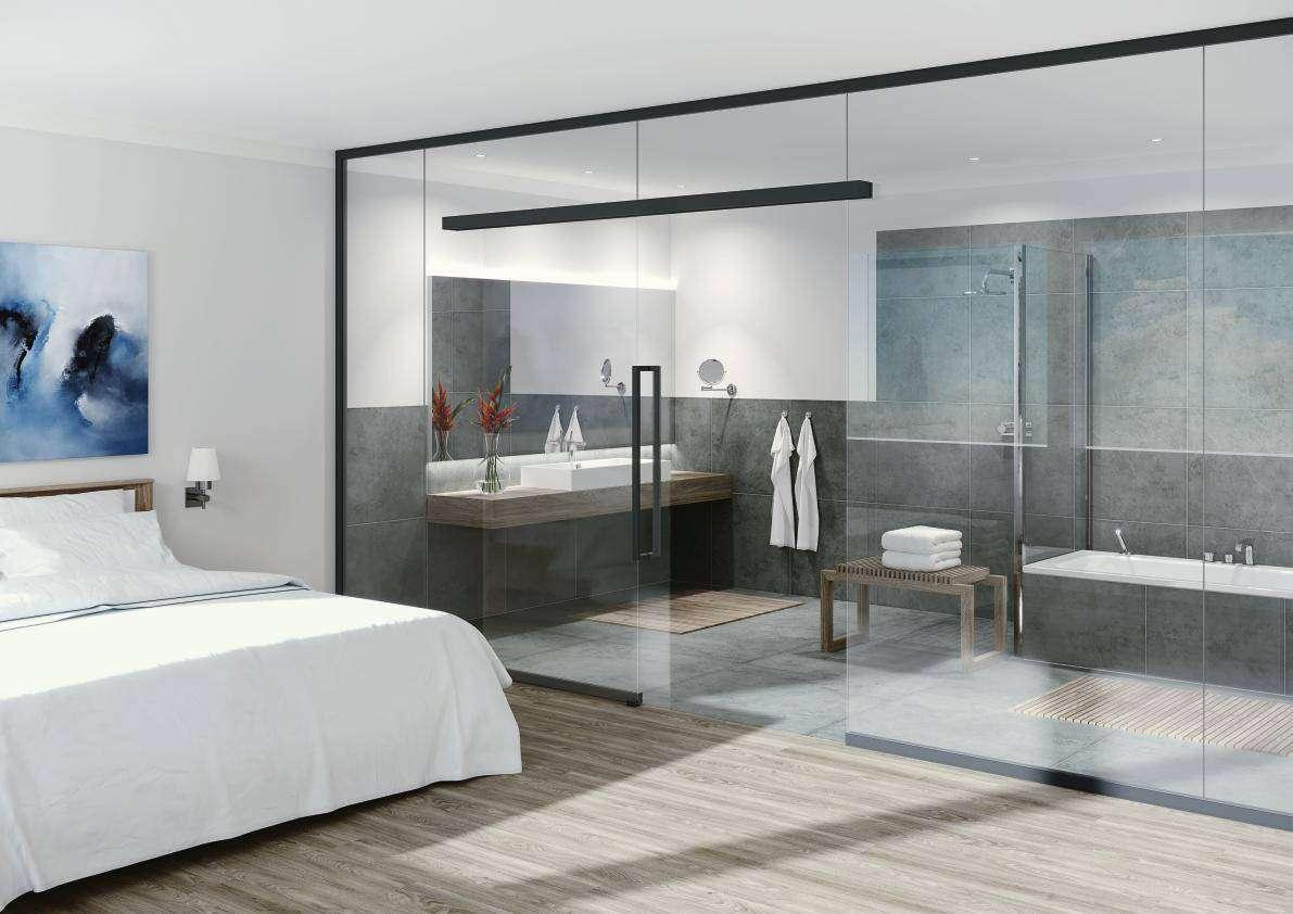 UNIQUIN - das neue Glas-Trennwandsystem von dormakabe, auch mit integrieter Glasschiebetür - www.ganzglastuere.de