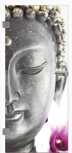 Glastür 9013 Buddha Farbdruck