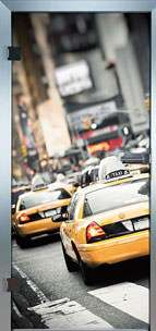 Farbdrucktüren Loft Glastüren Modell 9021 Taxi