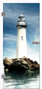 Glastür 9038 Lighthouse Farbdruck