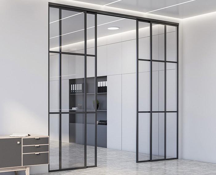 Glasschiebetüren Loft im Industrial Design, hier mit Schiebetürsystem LSD 8 SF in schwarz Feinstruktur mit Sprossentüren - www.ganzglastuere.de
