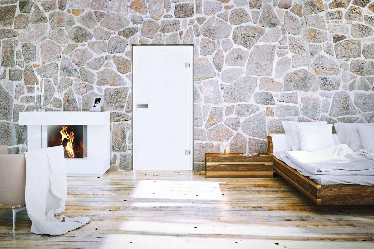 Glasschiebetür VSG Piano White 516 Folie farbig weiß, Weißglas Pure White Serie G Motivbild - www.ganzglastuere.de