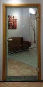 Averkauf Glastür Crash Verbundglas Ausstellungsstück kpl. mit Beschlägen zum Sonderpreis