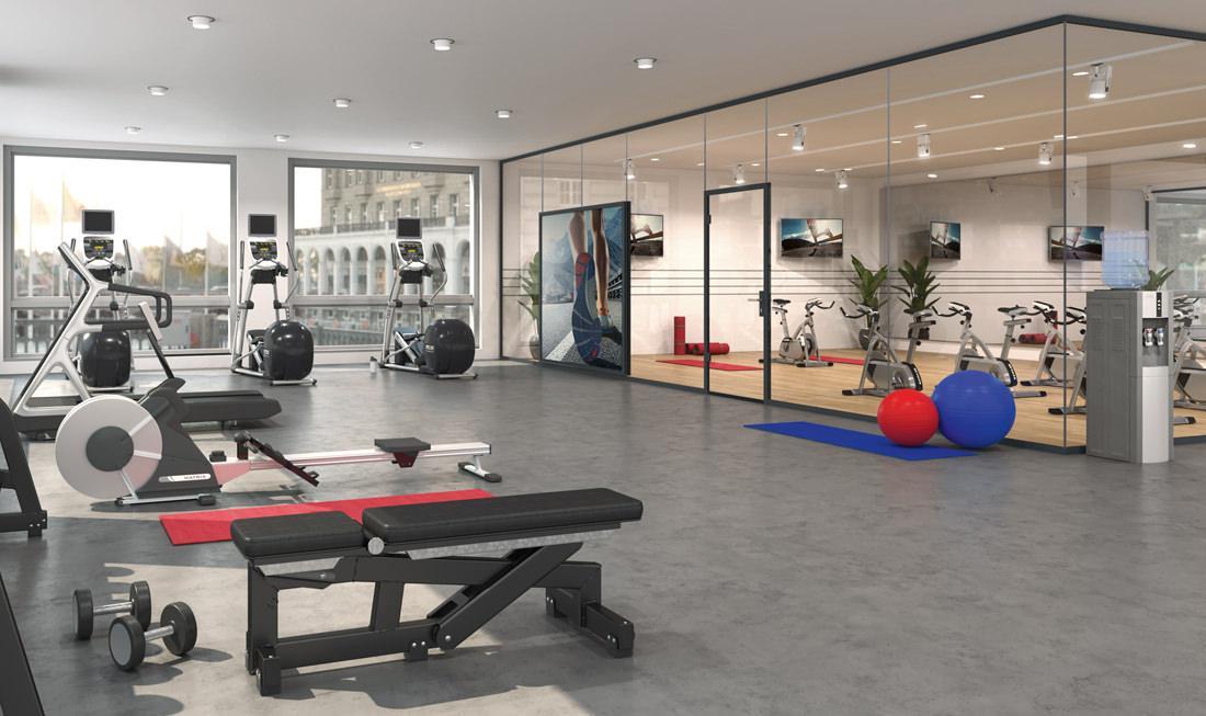 Uniquin Glasanlagen Glastrennwandsystem von dormakaba, Design und Schallschutz z.B. im Fitnessstudio - www.ganzglastuere.de