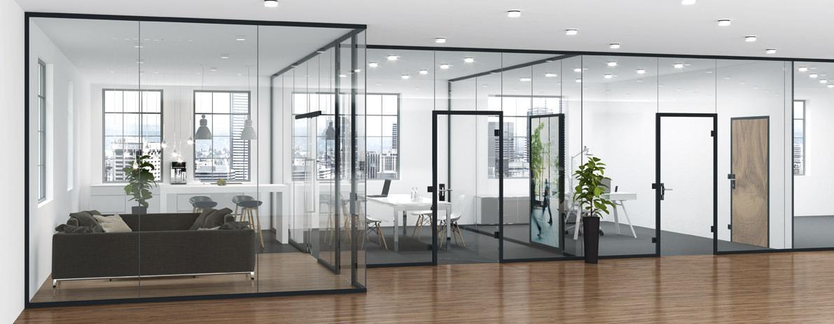 Uniquin Glasanlagen Glastrennwandsystem von dormakaba, Design und Schallschutz Büroanwendung - www.ganzglastuere.de