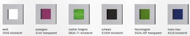 Glastüren Serie Vista Applikationen Farben